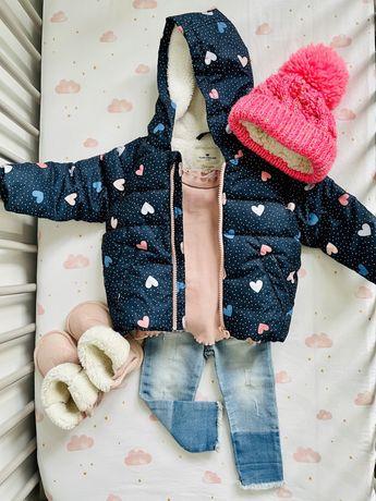 Zestaw dla dziewczynki 80, kurtka zimowa Tom Tailor, Zara, H&M