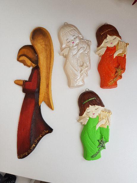 Ręcznie malowane gipsowe anioły ozdoba dekoracja ściana aniołek