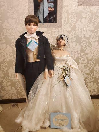 фарфоровая коллекционная кукла свадебная пара