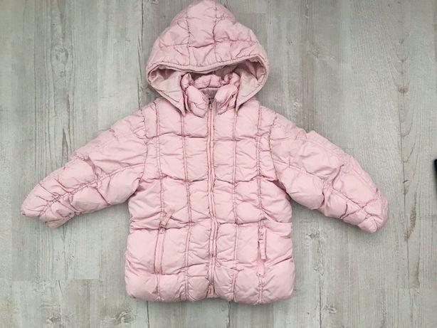 Next kurtka zimowa 104 cm puchowa z kapturem pikowana różowa na zimę