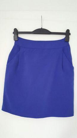 Spodnica H&M wysoki stan chabrowa niebieska