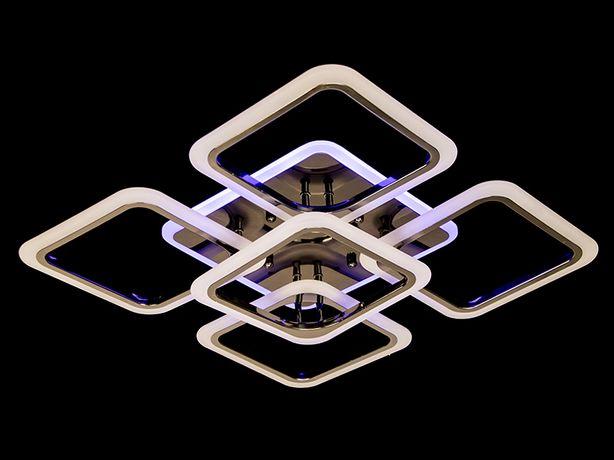 Потолочная люстра с диммером и подсветкой, чёрный хром, 120W A8060/4+1