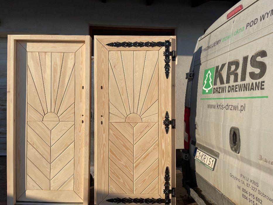 Drzwi zewnętrzne drewniane GÓRALSKIE DOSTĘPNE OD RĘKI cały KRAJ Grzybno - image 1