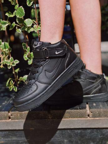 Кроссовки Nike Air Force ! Найк Аир Форс Высокие черные, белые