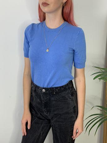 Zara jasnoniebieski dzianinowy Tshirt bluzka z krótkim rękawem.
