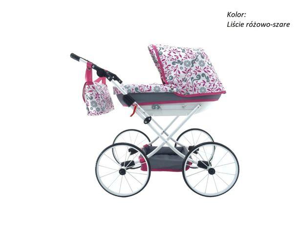 wózek dla lalek nowy metalowe koła retro + torba + pokrowiec + koszyk