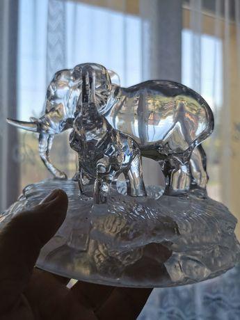 szkło figurka słonie kryształ