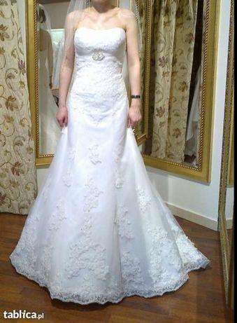 Suknia ślubna roz.32/34 diamentowa biel