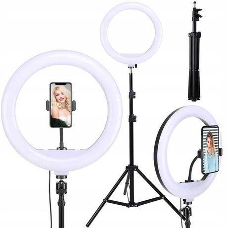 LAMPA PIERŚCIENIOWA LED 60W statyw selfie MAKIJAŻ do zdjęć na statywie