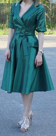 Sukienka koktajlowa butelkowa zieleń r.36