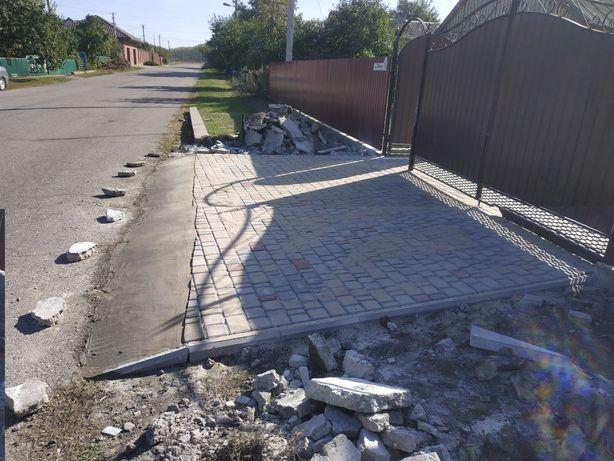 Укладка тротуарной плитки, битонные работы