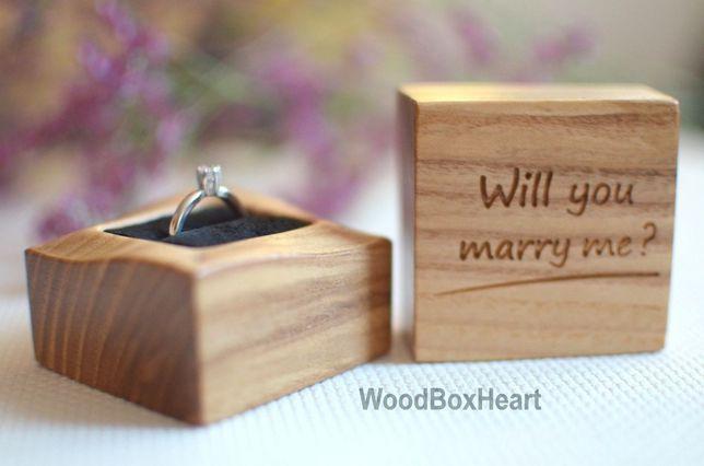 Деревянная коробочка футляр шкатулка для кольца, колец