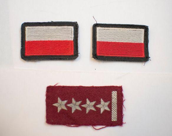 Naszywki naramienne flaga Polska + naszywka na beret dystynkcja