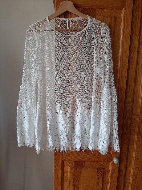 Ażurowa biała bluzka Valerie Khalfon rozmiar 42