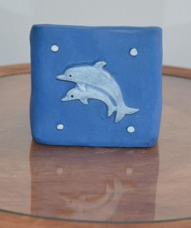 """Suporte de Vela e de Incenso """"Golfinhos"""" - Peça artesanal em pó de ped"""