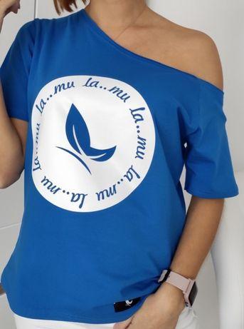Nowa bluzka niebieska asymetryczna LA_MU