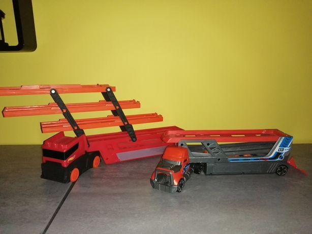 Hot wheels laweta z wyrzutnia i laweta 3 piętrowa, ciężarówka
