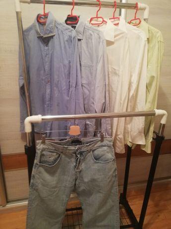 Koszule męskie Pierre Cardin 40/41 spodnie 34/34 Tommy Hilfiger zestaw