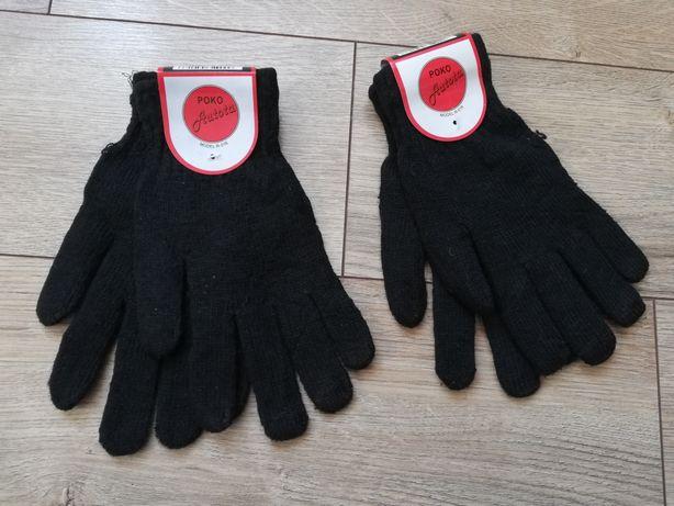 Rękawice rękawiczki damskie czarne 21cm jesienne zimowe