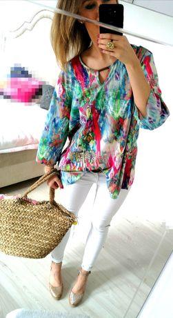 Bluzka przedłużana plus size kolory lekka 46 XXL
