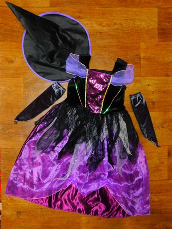 платье Ведьма 11-12 лет Tu карнавальное хэллоуин шляпой и перчатками