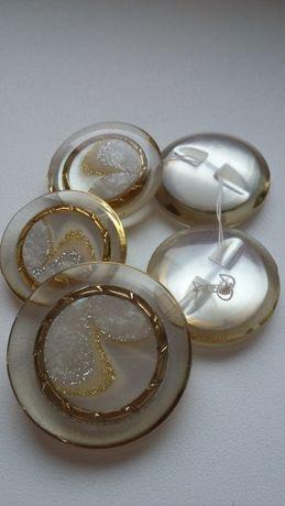 Пуговицы большие пальтовые шубные молочные золото перламутр оригинал