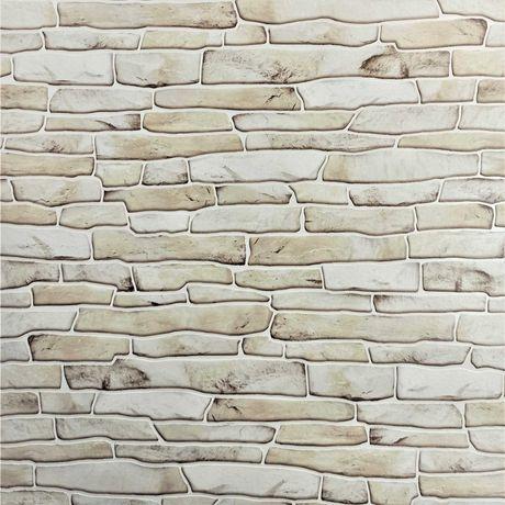Tapeta ścienna cegła kamień mur piaskowiec jasny beż
