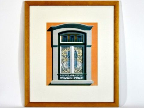 Maluda, quadro com litogravura colorida, motivo As janelas de Maluda