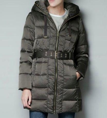 Zara s/36 kurtka plaszczyk pikowana taliowana pierze ciepla khaki