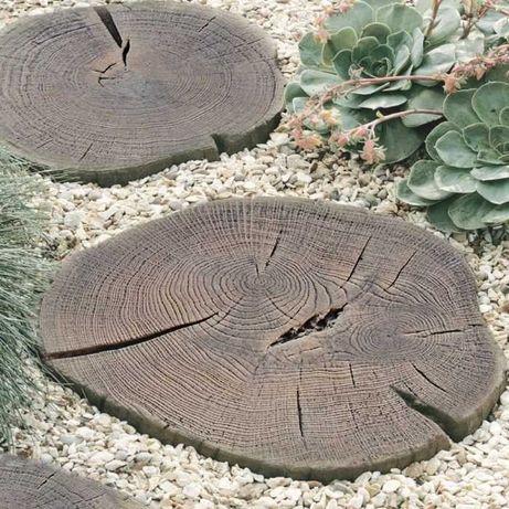 pień betonowy pniak drewno plaster ogród taras scieżka