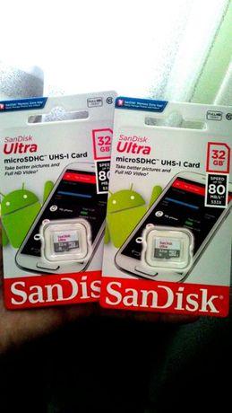 Карта памяти SanDisk microSDHC 32GB Class10 Ultra Фирменная Новая