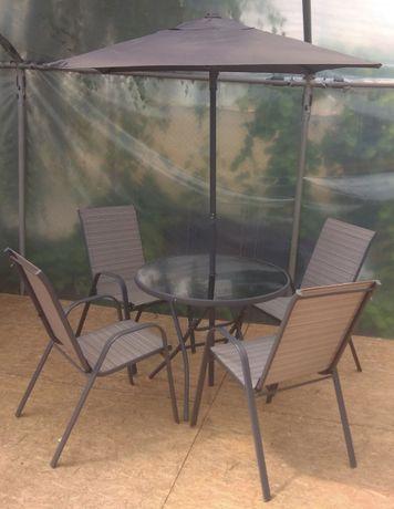 Meble Ogrodowe ANDORRA Składany Stół + 4 Krzesła + Parasol