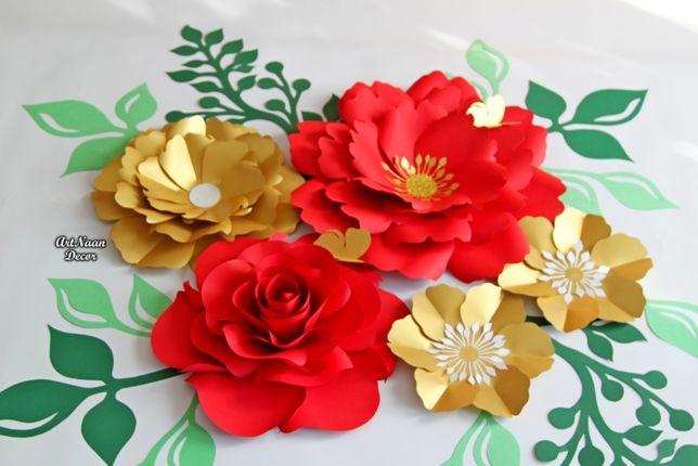 Kwiaty papierowe duże, dekoracja na ścianę, złote i czerwone