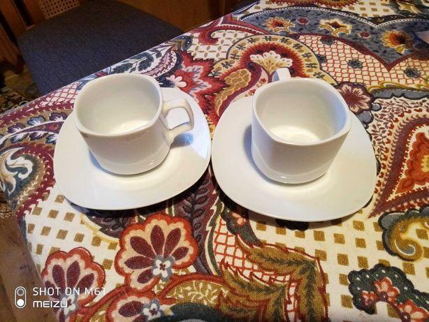 Filiżanka + spodek porcelana biała  Zestaw 6 szt