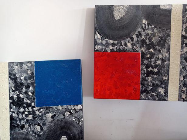 Telas em tom vermelho, azul e preto