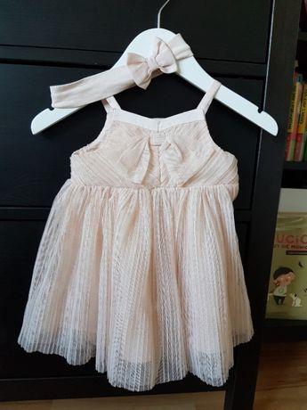 Sukienka niemowlęca H&M 74 różowa brokatowa z opaską j.nowa