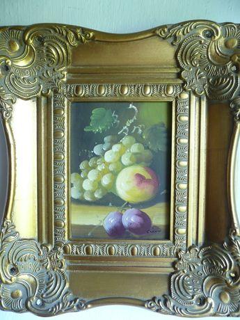 sygnowany obraz olejny ozdobna rama owoce