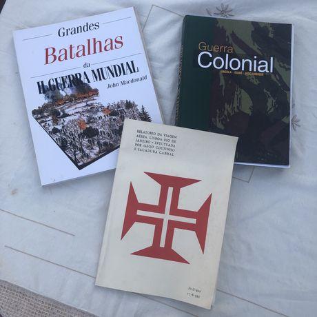Livros- guerra colonial, batalhas 2ª guerra mundial, relatos de viagem