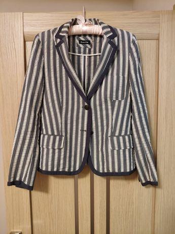 Жакет Massimo Dutti S M пиджак Массимо Дути джинсовый серый в полоску