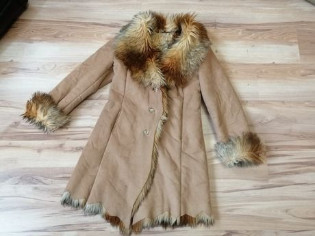 Kożuch futro góralski płaszcz retro PRL vintage retro