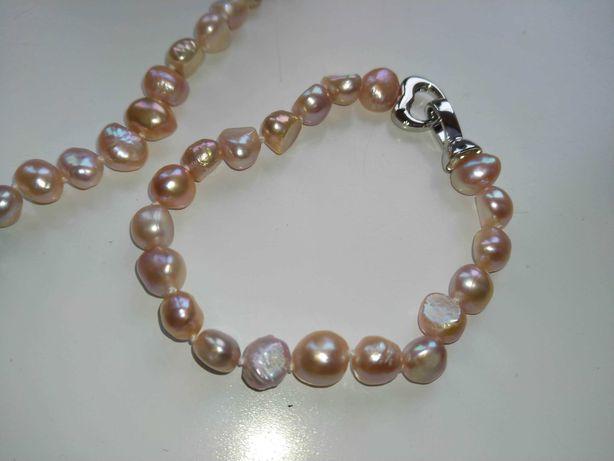Nowy komplet różowe perły z bransoletką i kolczykami