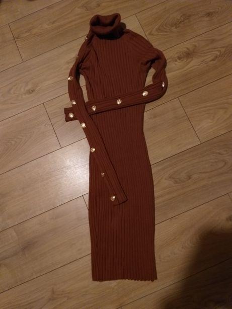 Sukienka sweterkowa karmel 36-38