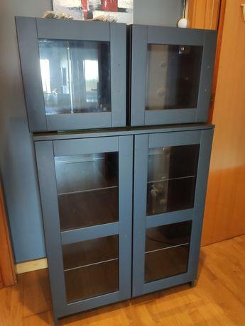 BRIMNES  IKEA Armário c/portas, vidro/preto + 2 armários pequenos