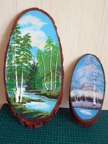 Картина на срезе дерева из натуральной каменной крошки
