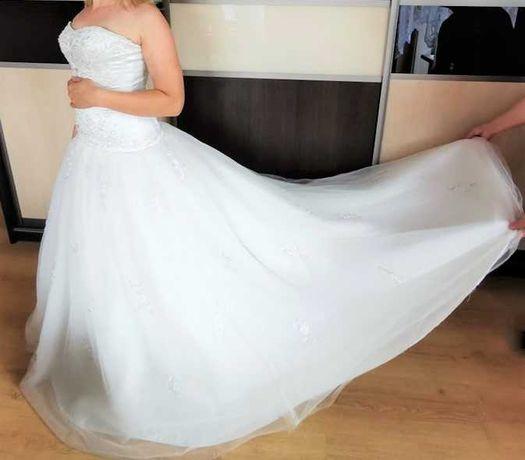 Cudowna Suknia KSIĘŻNICZKA z Trenem  ecru r.36/38 w.168/180cm Taniej!!