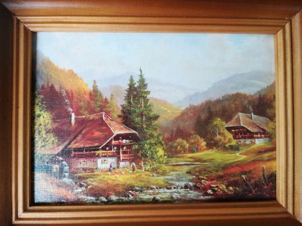 obraz w drewnianej ramie młyn rzeka góry krajobraz pejzaż