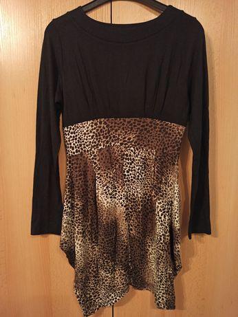 Sukienka elegancka czarna panterka