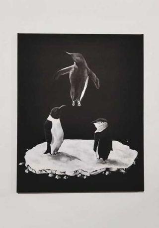 Картина акрилом/пингвины/40х50/стильный подарок/современный декор