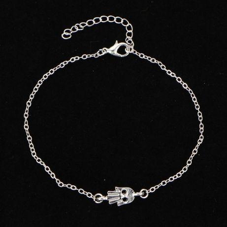 bransoletka na kostkę/nogę/rękę srebrna ręka fatimy Dzień Matki