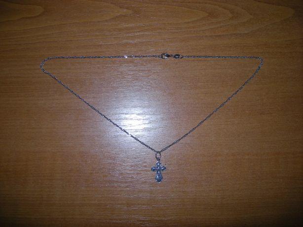 Серебряная цепочка с крестиком( 925 проба )